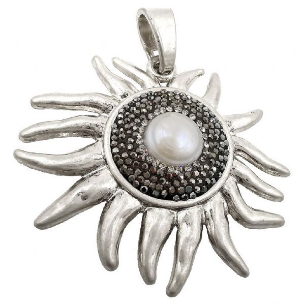 Brushed Silver Plated Sun Pendant 60 x 5mm x 1pcs